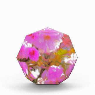 Bright Girly Neon Pink Flowers Acrylic Award