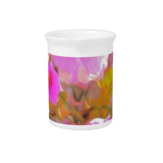 Bright Girly Neon Pink Flowers Beverage Pitchers