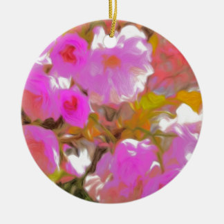 Bright Girly Neon Pink Flowers Ceramic Ornament