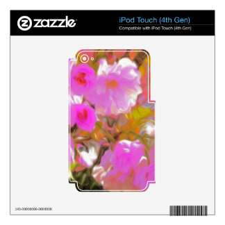 Bright Girly Neon Pink Flowers iPod Touch 4G Skins