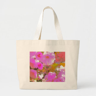 Bright Girly Neon Pink Flowers Large Tote Bag