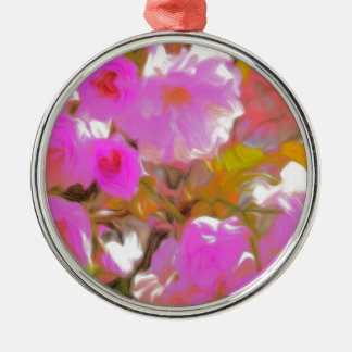 Bright Girly Neon Pink Flowers Metal Ornament