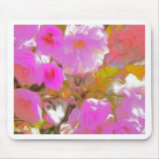 Bright Girly Neon Pink Flowers Mouse Pad