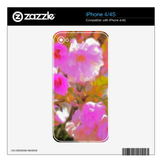 Bright Girly Neon Pink Flowers Skin For iPhone 4S