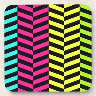 Bright Girly Neon Stripes Chevron Pattern Coaster