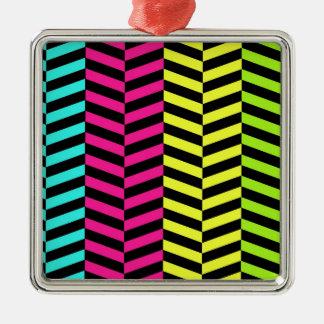 Bright Girly Neon Stripes Chevron Pattern Ornaments