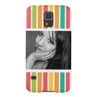 Bright Girly Stripes with Large Photo Galaxy S5 Case