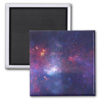 Bright Glowing Galaxy in Outer Space 2 Inch Square Magnet