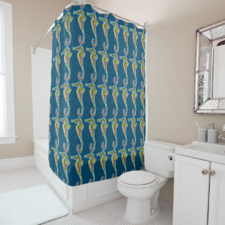 bright glowing seahorse patterned shower curtain