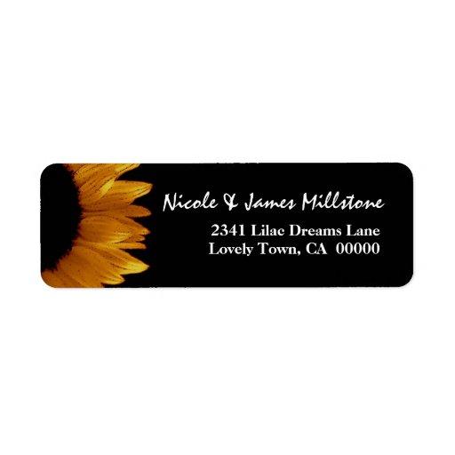 Bright Gold and Black Sunflower Modern Wedding Label