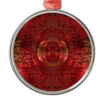 Bright Gold and Orange 3D Pattern Design Love Metal Ornament
