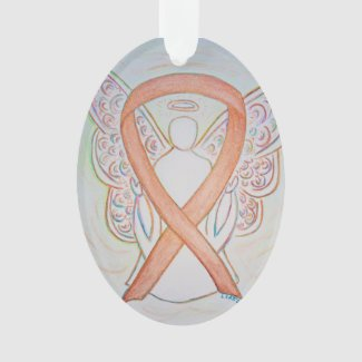 Bright Gold Awareness Ribbon Angel Ornament