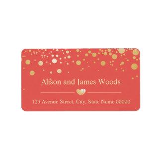 Bright Gold Confetti Dots Coral Orange Wedding Label