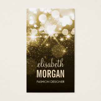 Bright Gold Glitter Sparkle Bokeh Business Card