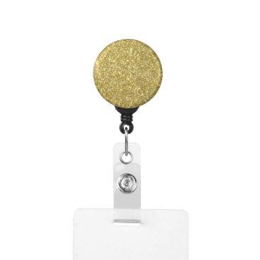 Beach Themed Bright Gold Glitter Sparkles Badge Holder