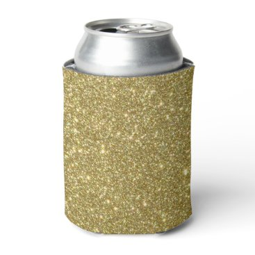 Beach Themed Bright Gold Glitter Sparkles Can Cooler