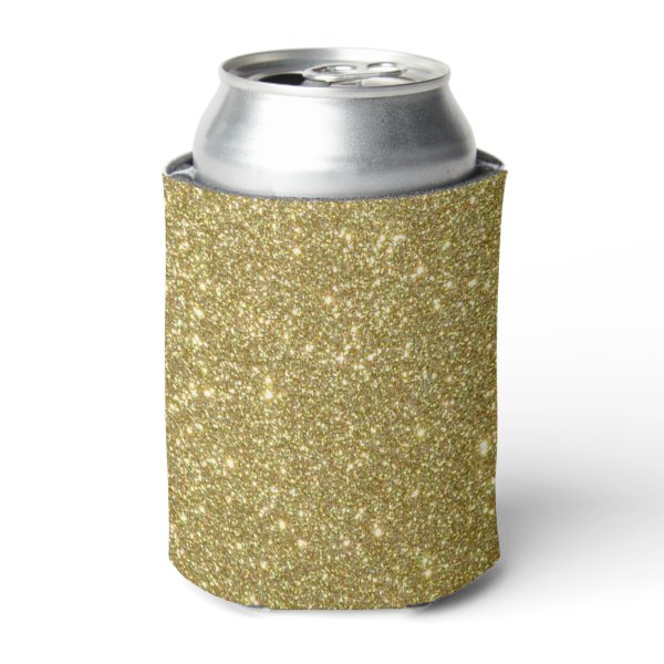 Bright Gold Glitter Sparkles Can Cooler