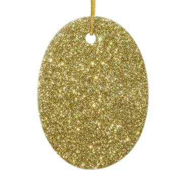 Beach Themed Bright Gold Glitter Sparkles Ceramic Ornament