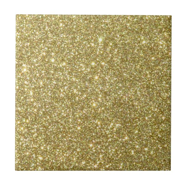 Bright Gold Glitter Sparkles Ceramic Tile