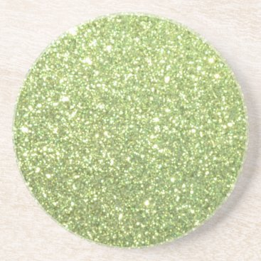 Beach Themed Bright Gold Glitter Sparkles Coaster