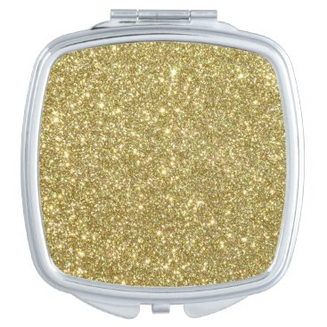 Beach Themed Bright Gold Glitter Sparkles Compact Mirror