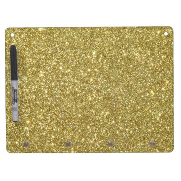 Beach Themed Bright Gold Glitter Sparkles Dry Erase Board With Keychain Holder