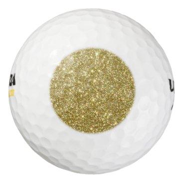 Beach Themed Bright Gold Glitter Sparkles Golf Balls