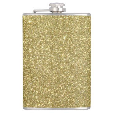 Beach Themed Bright Gold Glitter Sparkles Hip Flask