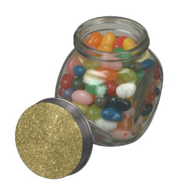 Beach Themed Bright Gold Glitter Sparkles Jelly Belly Candy Jar