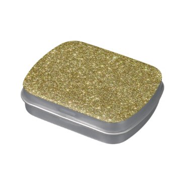 Beach Themed Bright Gold Glitter Sparkles Jelly Belly Candy Tins