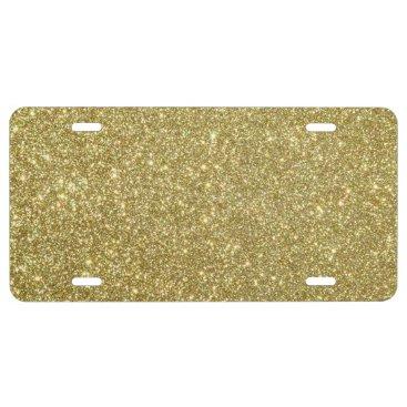 Beach Themed Bright Gold Glitter Sparkles License Plate