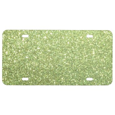 Beach Themed Bright Gold Glitter Sparkles License Plate
