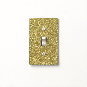 Beach Themed Bright Gold Glitter Sparkles Light Switch Cover