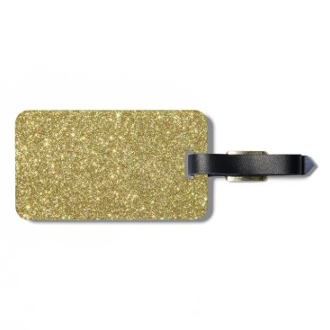 Beach Themed Bright Gold Glitter Sparkles Luggage Tag