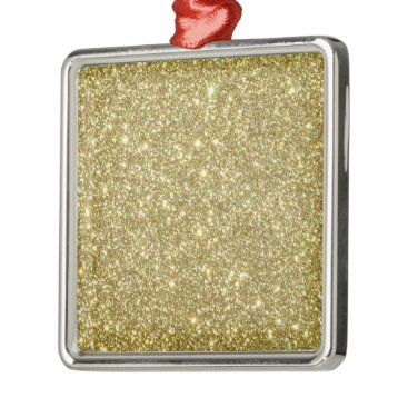 Beach Themed Bright Gold Glitter Sparkles Metal Ornament