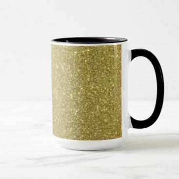 Beach Themed Bright Gold Glitter Sparkles Mug