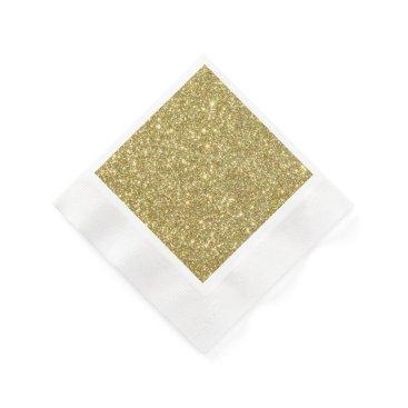 Beach Themed Bright Gold Glitter Sparkles Napkin