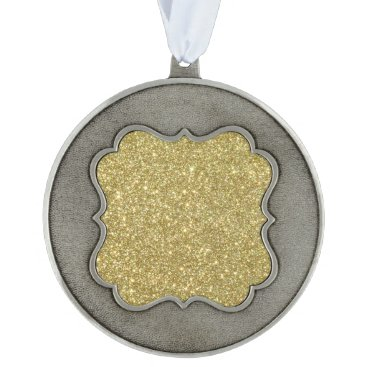 Beach Themed Bright Gold Glitter Sparkles Ornament
