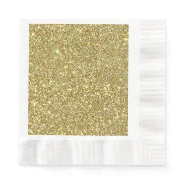 Beach Themed Bright Gold Glitter Sparkles Paper Napkin