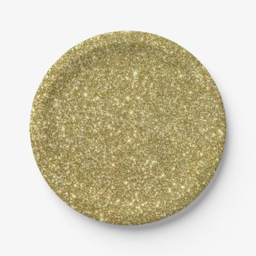 Beach Themed Bright Gold Glitter Sparkles Paper Plate