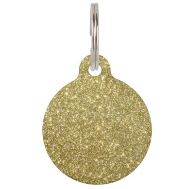 Beach Themed Bright Gold Glitter Sparkles Pet Tag