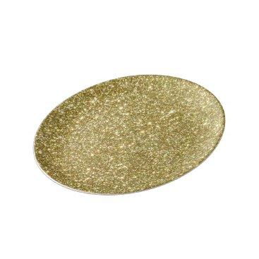 Beach Themed Bright Gold Glitter Sparkles Plate