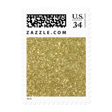 Beach Themed Bright Gold Glitter Sparkles Postage