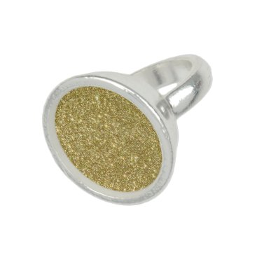 Beach Themed Bright Gold Glitter Sparkles Ring