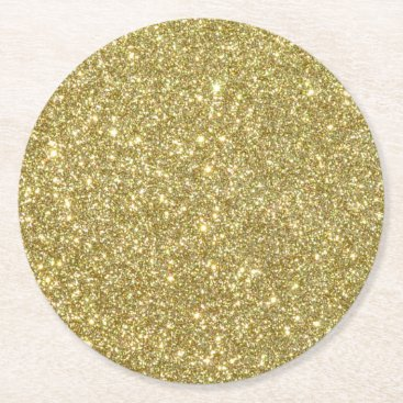 Beach Themed Bright Gold Glitter Sparkles Round Paper Coaster