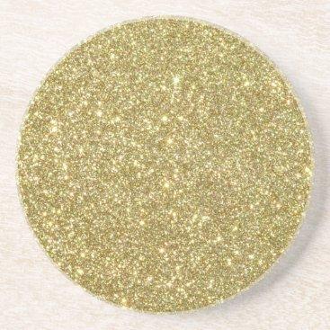Beach Themed Bright Gold Glitter Sparkles Sandstone Coaster