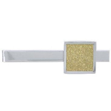 Beach Themed Bright Gold Glitter Sparkles Silver Finish Tie Bar