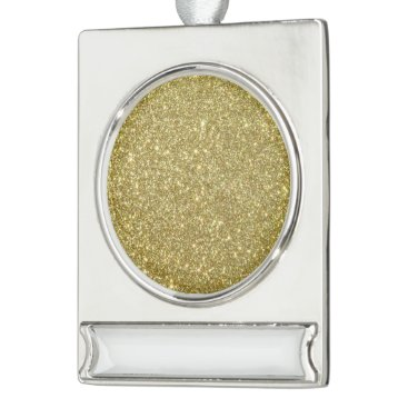 Beach Themed Bright Gold Glitter Sparkles Silver Plated Banner Ornament