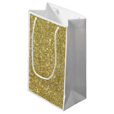 Beach Themed Bright Gold Glitter Sparkles Small Gift Bag