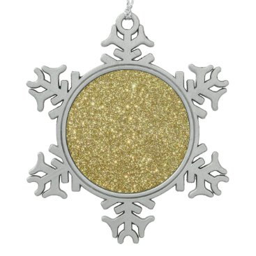 Beach Themed Bright Gold Glitter Sparkles Snowflake Pewter Christmas Ornament